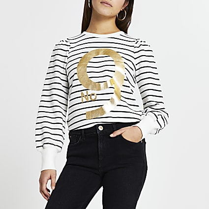 Petite white 'No 9' stripe sweatshirt
