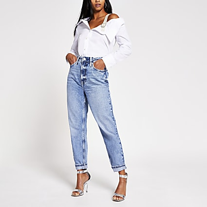 Petite White off shoulder pearl buckle shirt