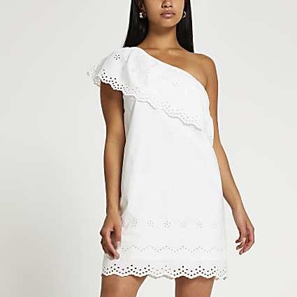 Petite white one shoulder cut work mini dress