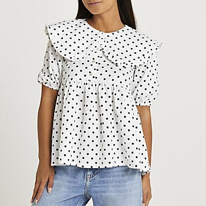 Petite white oversized collar peplum top