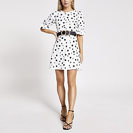 Petite white polka dot mini dress