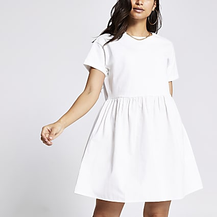Petite white poplin smock mini dress