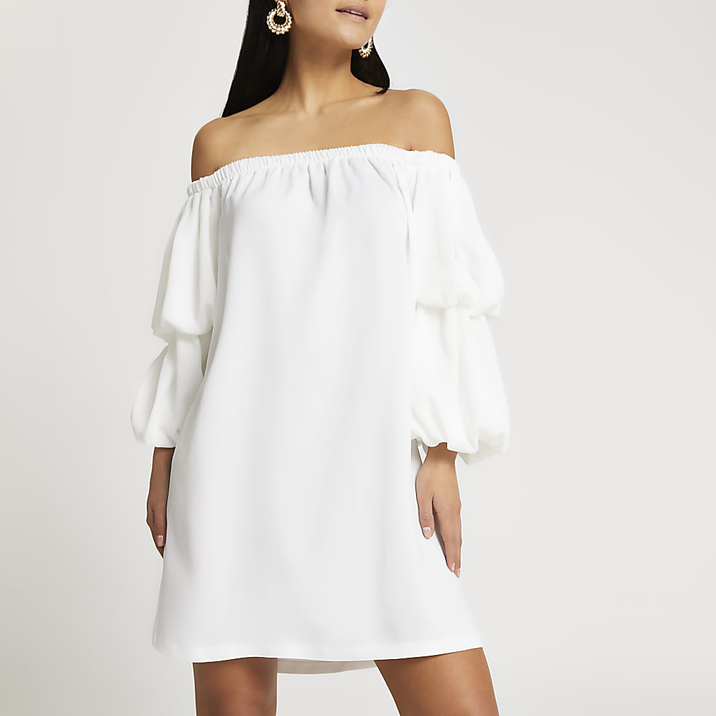 Petite white puff sleeve bardot Dress