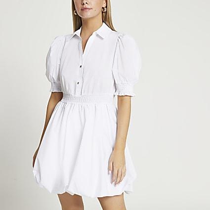 Petite white puff sleeve mini shirt dress