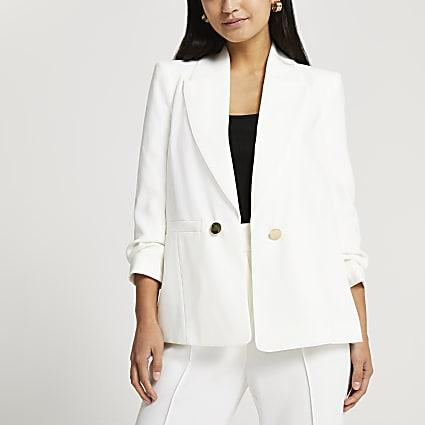 Petite white ruched sleeve blazer