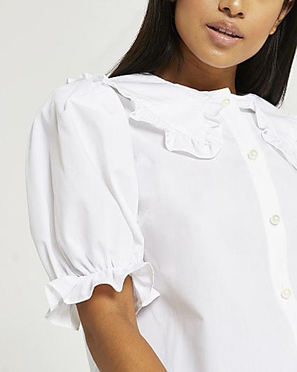 Petite white ruffled collar shirt