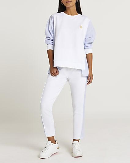 Petite white shirt sleeve sweatshirt