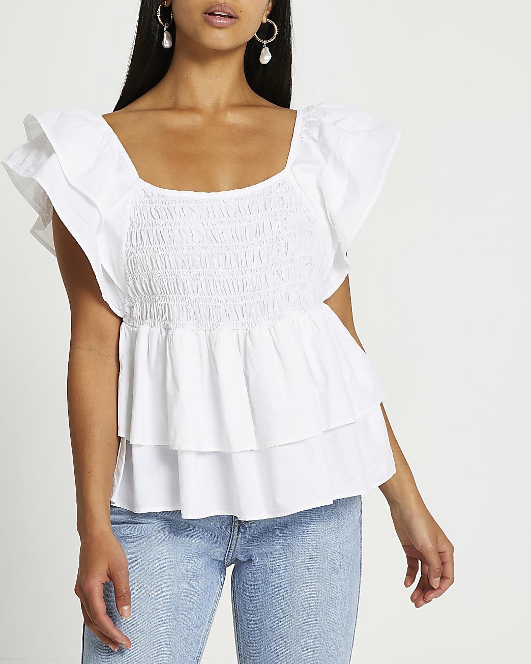 Petite white short sleeve frill poplin top