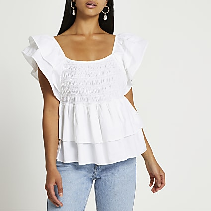 Petite white short sleeve frill poplin top