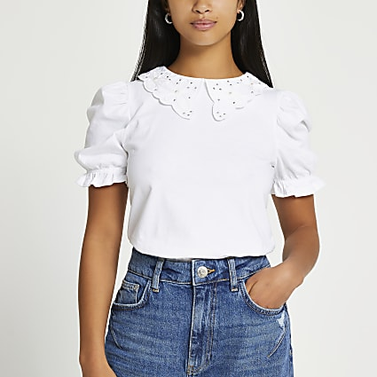 Petite white short sleeve puff sleeve t shirt
