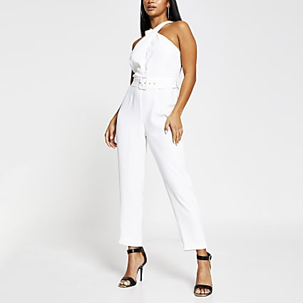 Petite white sleeveless wrap neck jumpsuit