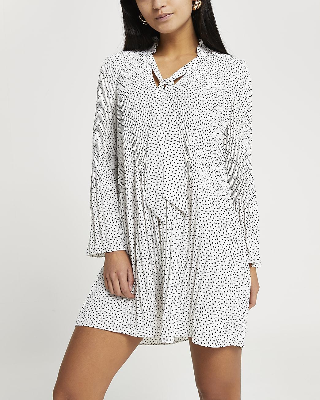Petite white spot print pleated mini dress