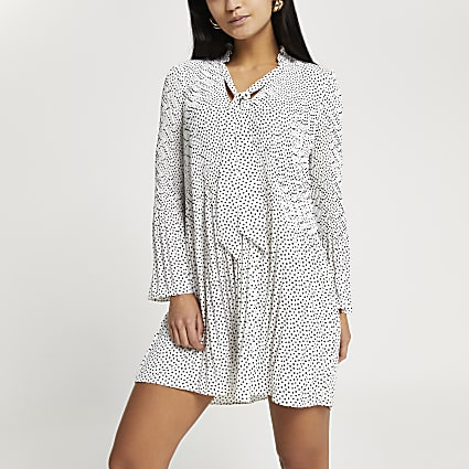 Petite white spot print pleated mini dress