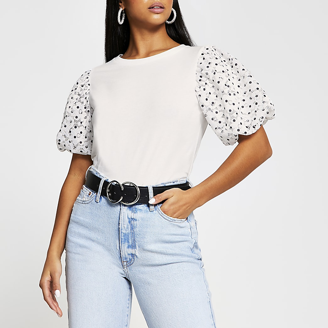 Petite white spot puff sleeve t-shirt