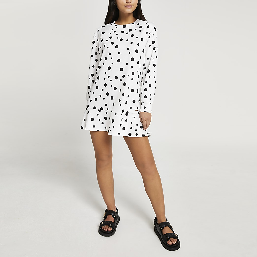 Petite white spotted frill hem mini Dress