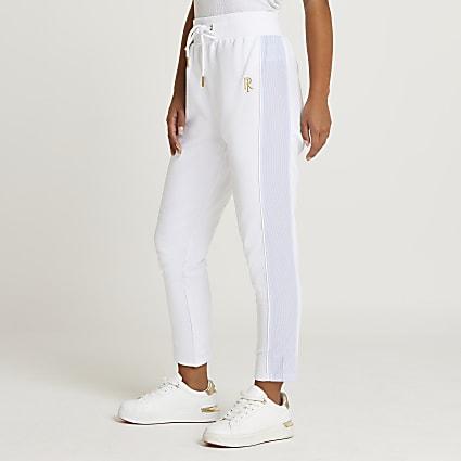 Petite white straight leg joggers