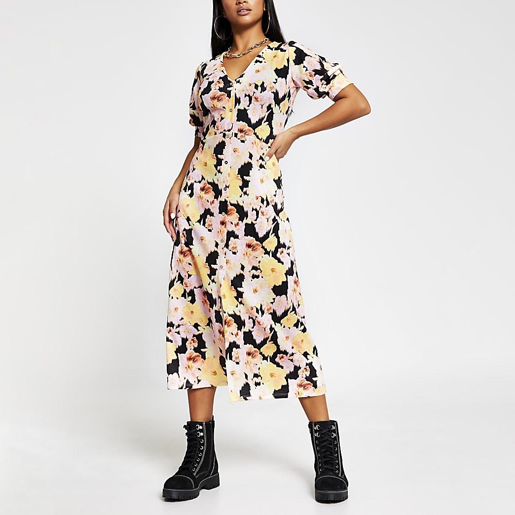 Petite yellow floral button down dress