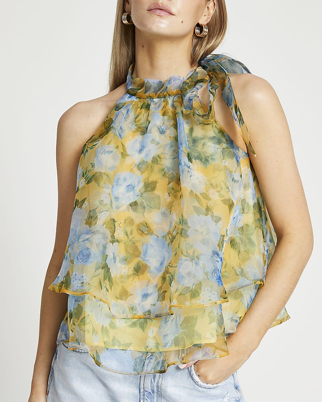 Petite yellow floral sleeveless tie neck top