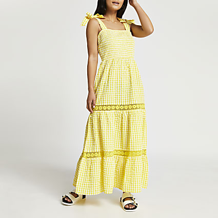 Petite yellow gingham lace trim maxi dress