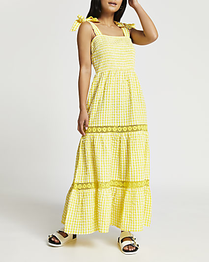 Petite yellow gingham maxi dress