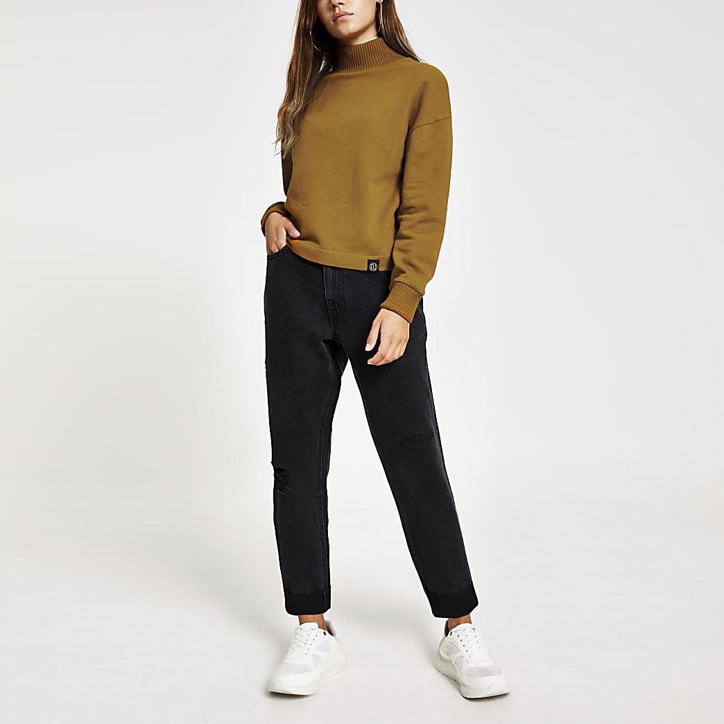 Petite – Pull jaune à col montant et manches longues