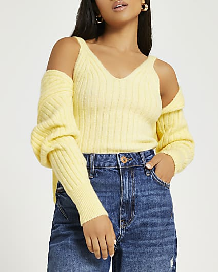 Petite yellow hooded shrug and vest set
