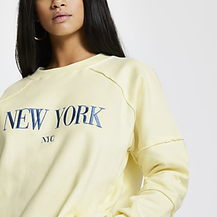 Petite yellow 'New York' sweatshirt