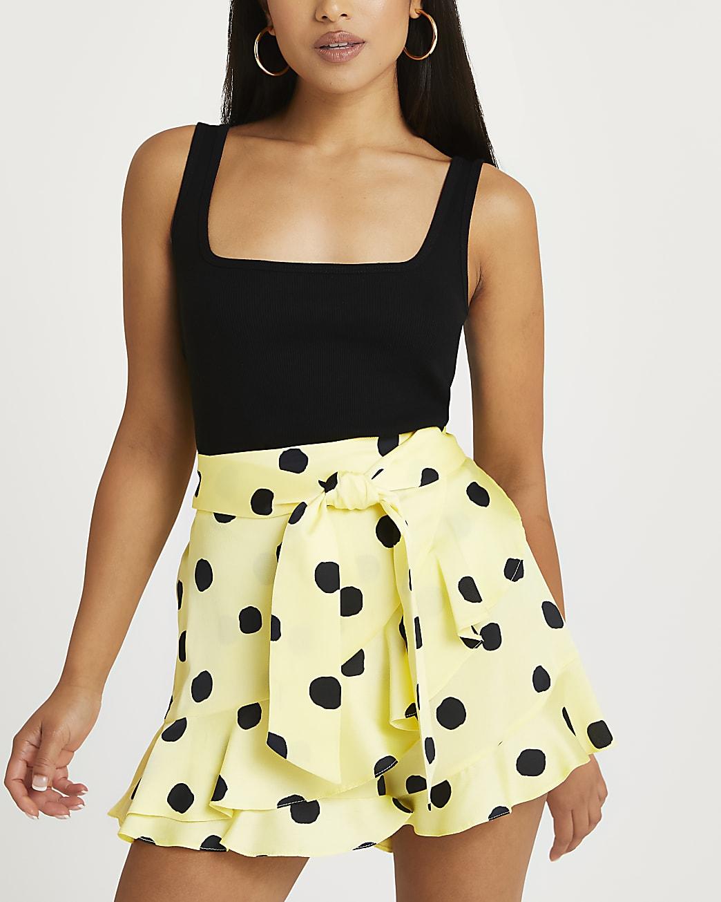 Petite yellow polka dot print shorts