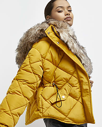 Petite yellow quilted puffer coat