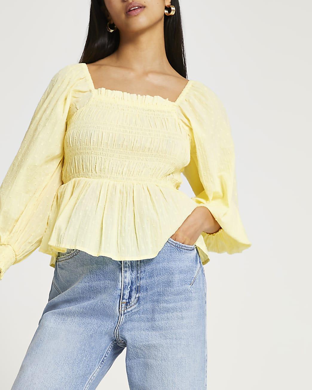 Petite yellow shirred long sleeve top