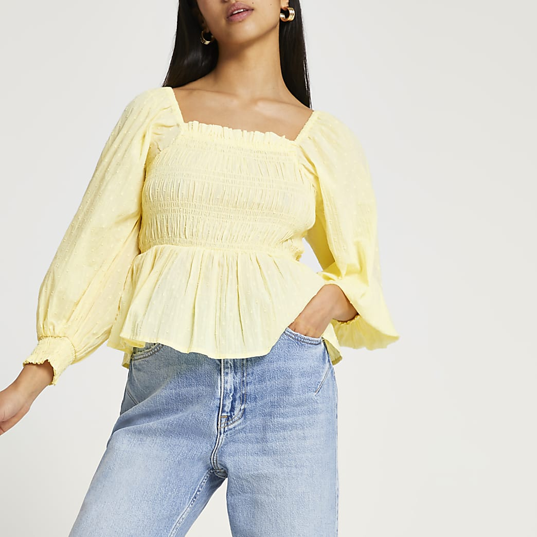 Petite yellow shirred long sleeve top