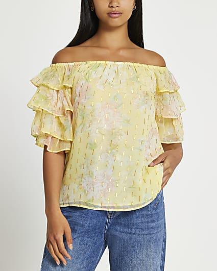 Petite yellow short frill sleeve bardot top