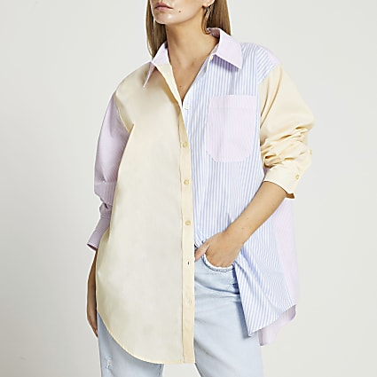 Petite Yellow stripe chest pocket shirt
