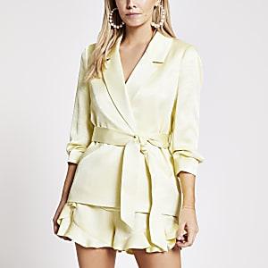 RI Petite - Gele blazer met strikceintuur