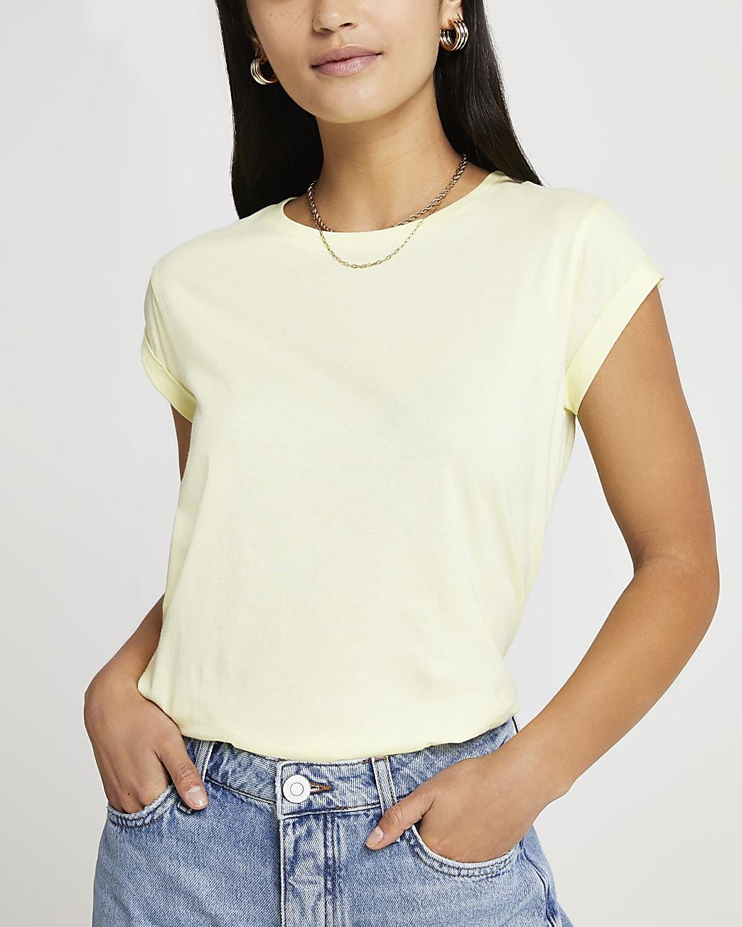 Petite yellow turn back sleeve t-shirt