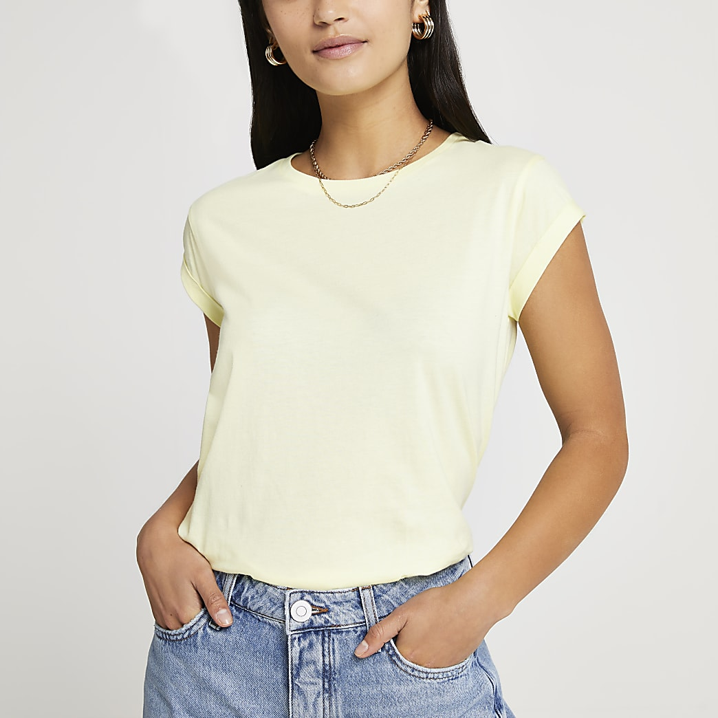 Petite yellow turn back sleeve t-shirt