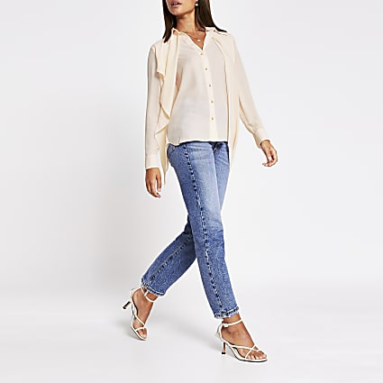 Pink - Light Ls Asym Front Frill Shirt