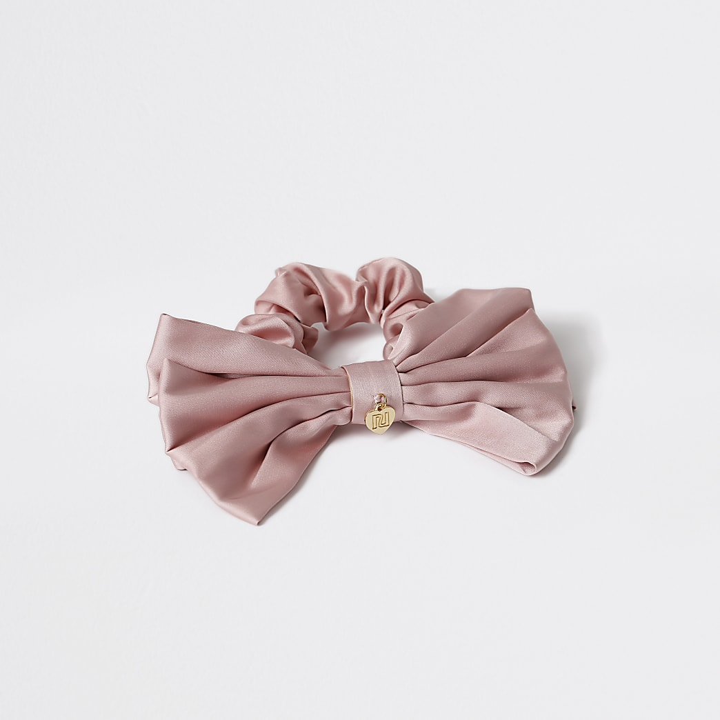 Pink - Medium Large Pink Bow Scrunchie