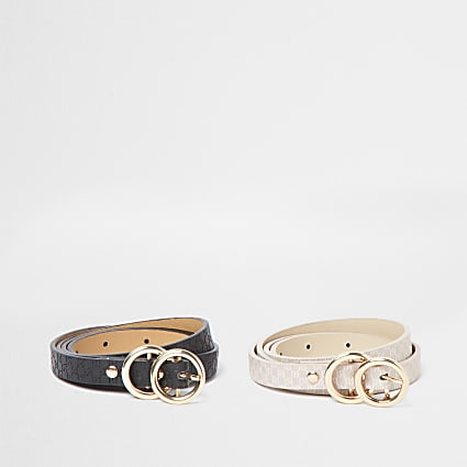 Pink 2 pack double ring belt