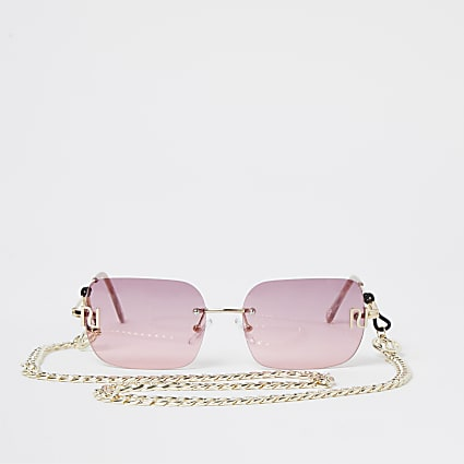 Pink 90s rimless narrow rectangle sunglasses