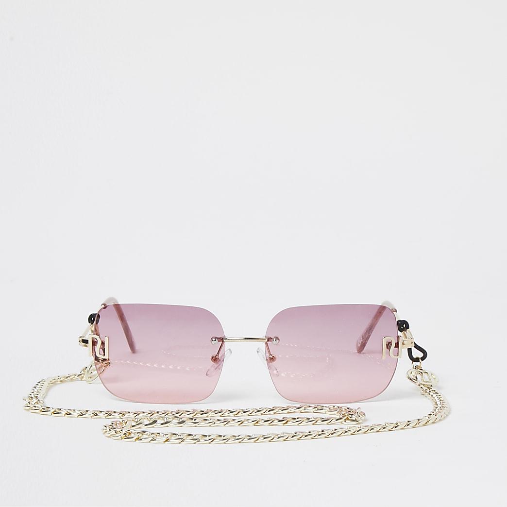 Pink 90s rimless narrow rectangle sunglasses