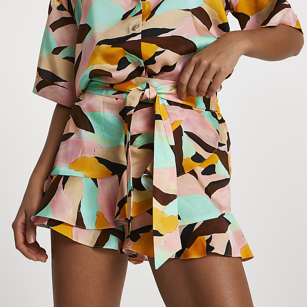 Pink abstract frill shorts