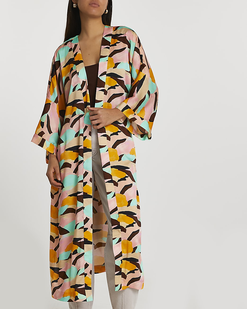 Pink abstract printed kimono