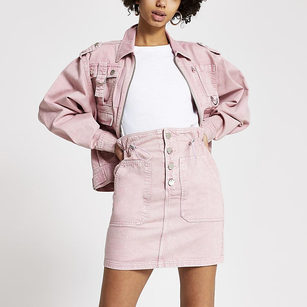 Pink acid wash drawstring denim mini skirt