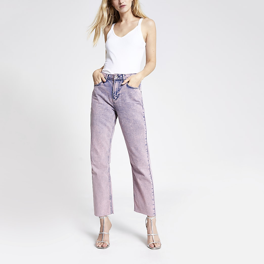 Roze rechte acid wash denim jeans met hoge taille