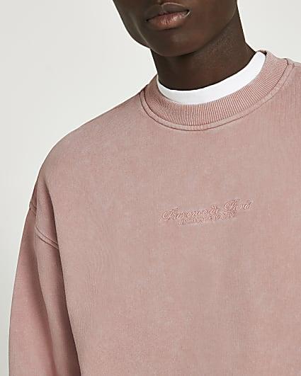 Pink acid washed oversized sweatshirt
