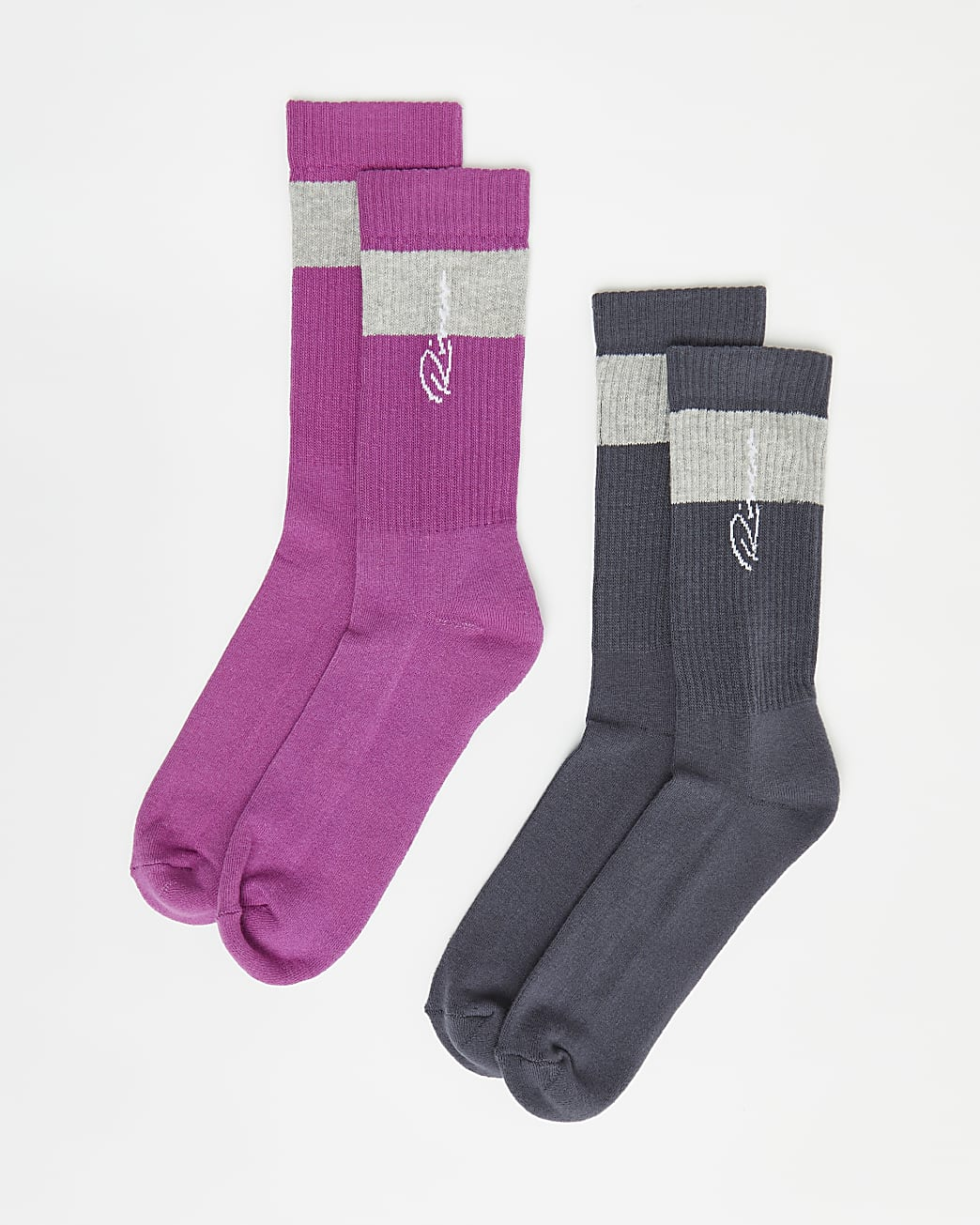 Pink and grey stripe RI branded socks 2 pack