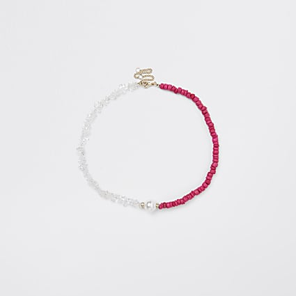 Pink & white beaded necklace