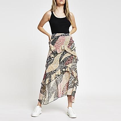 Pink animal print chiffon frill maxi skirt