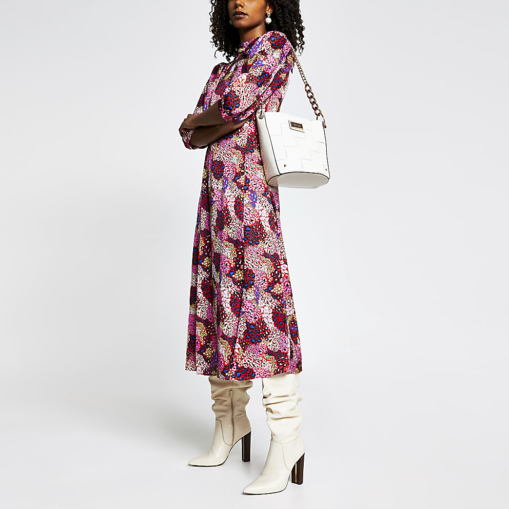 Pink animal print long sleeve midi dress
